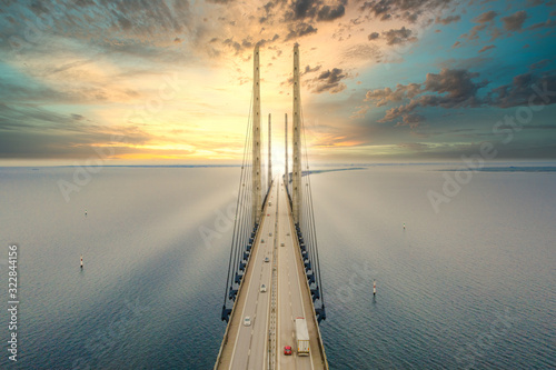 Beautiful aerial view of the Oresundsbron bridge between Denmark and Sweden, Oresundsbron. Oresund Bridge close up view at sunset.