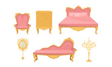 Princess Furnishing Objects For Bedroom Or Living Room Vector Set