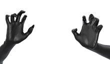 Grabbing Scary Clawed Hand, Black Frightening Zombie Hand First-person View Isolated On White, Halloween Horror Concept. 3d Rendering