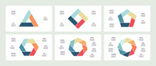 Business Infographics. Polygons With 3, 4, 5, 6, 7, 8 Parts, Options. Vector Templates.