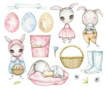 Big Set With Easter Cartoon Bu...