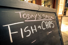 Fish & Chips On Chalk Board Me...