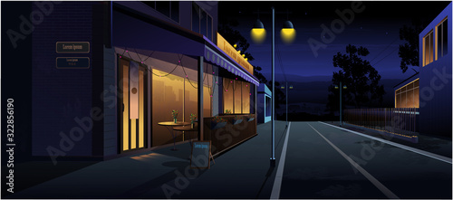 Night landscape. Cafe on the street, at home, road. Vector graphics.