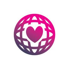 Globe Color Love Hearth Color Line Logo Design