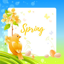 Spring Frame With Cherry Blossom Flower, Canary Bird, Eggs, Garden Elements. Cute Catroon Banner With Blue Sky, Green Grass Background, Vintage Watercolor Colors. Text Spring On White Background