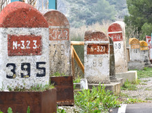 Old Milestones Exposed On The Bailen-Motril Road (N-323) As It Passes Through La Cerradura De Pegalajar (Jaen-Spain)