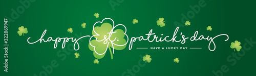 Obraz Happy St Patrick's Day handwritten typography lettering line design with clovers green background banner - fototapety do salonu