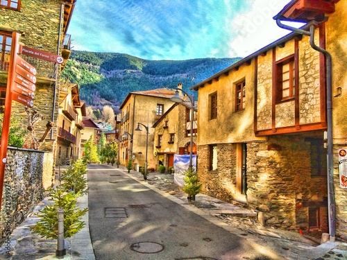 view of old town of Andorra Canvas Print