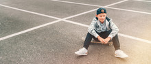 Teenager Skateboarder Boy With...