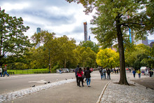 People Walking In Central Park...