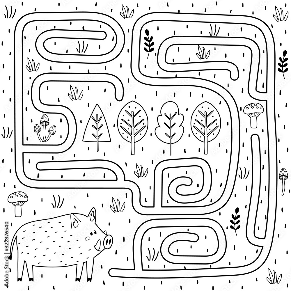 Fototapeta Black and white maze game for kids. Help the boar find the way to the forest