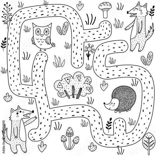 fototapeta na ścianę Black and white maze game for kids. Help the baby wolf find the way to his mother
