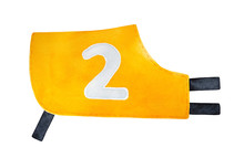 """Racing Shirt For Dog Or Horse, With Big Number """"Two"""" Sign. One Single Object, Bright Yellow Color, Side View. Hand Painted Watercolour Graphic Drawing, Cut Out Clip Art Element For Creative Design."""