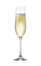 Glass For Champagne With Splashes Isolated On White Background.