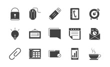 Office Supply Equipment Stationery Icon Set Silhouette On White Background