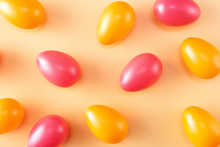 Colorful Background With Orange And Red Easter Eggs
