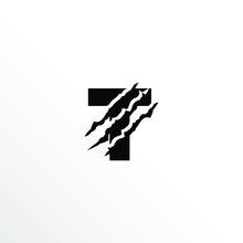 Initial Letter T With Claw Scratch Logo Design