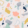 Terrazzo seamless pattern. Pastel colors background. Trendy and stylish composite stone texture, wallpaper, web background, fabric design. Abstract print Illustration with doodle dots, spots.