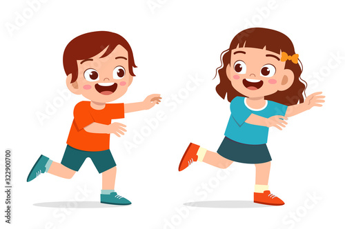 Fotografie, Tablou happy cute little kid boy and girl play run tag