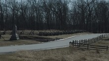 Still Shot Of Gettysburg Battlefield In Winter With High Winds Blowing Tall Grass