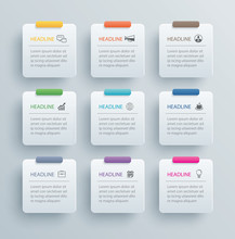 9 Infographics Rectangle Paper...