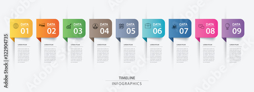 Fotografiet 9 data infographics tab paper index template