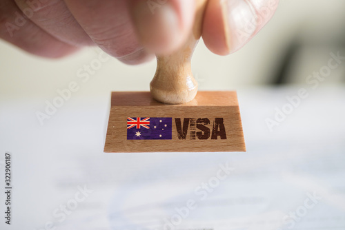 Fototapety, obrazy: Ein Stempel und das Visums für Einreise nach Australien
