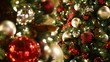 Closeup of Festively Decorated Outdoor Christmas tree with bright red balls on blurred sparkling fairy background. Defocused garland lights, Bokeh effect. Merry Christmas and Happy Holidays concept