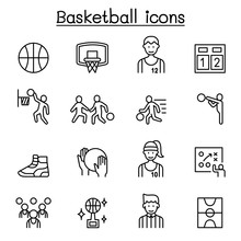 Basketball Icons Set In Thin L...