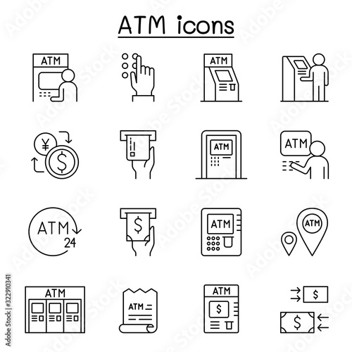 Fototapeta ATM icons set in thin line style