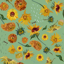 Sunflower Flowers On A Background Of Sea Green. Vector Illustration Based On The Painting Of Van Gogh.