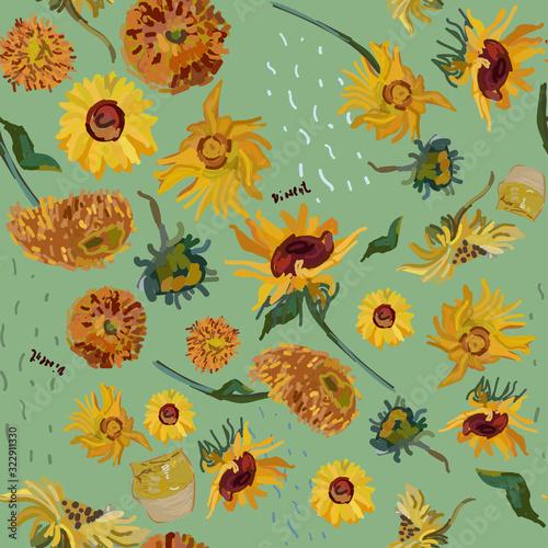 Fototapeta Sunflower flowers on a background of sea green