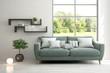 Leinwandbild Motiv Stylish room in white color with sofa and summer landscape in window. Scandinavian interior design. 3D illustration