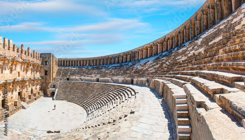 The ancient city of Aspendos with famous amphitheater Aspendos Fotobehang