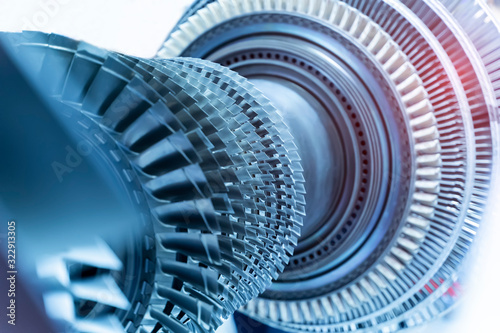 Jet engine, internal structure with hydraulic, aircraft and aerospace industry Wallpaper Mural
