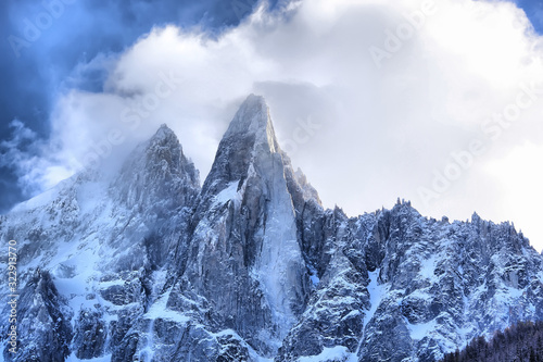 Picturesque Winter sunset in chamonix, view from the valley of chamonix Canvas Print