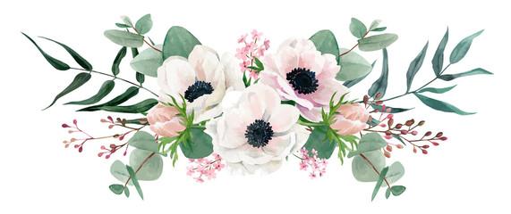Fototapeta Do salonu Watercolor floral arrangement, hand drawn vector image