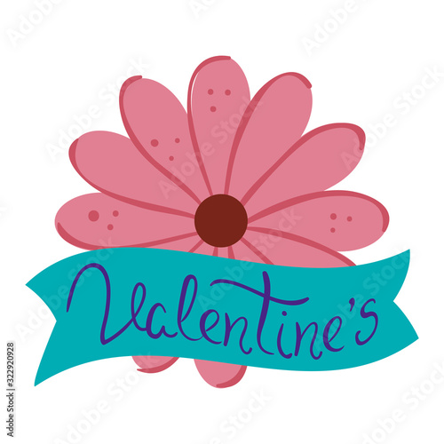 Fototapeta valentines lettering in ribbon with flower vector illustration design obraz