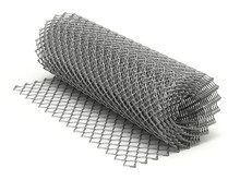 Roll Of Wire Chain Link Mesh On White Background - 3D Illustration