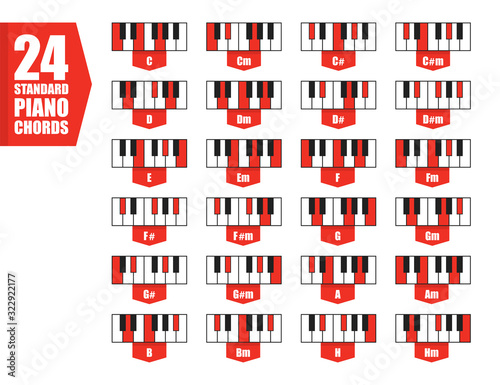 set 24 standard piano chords, flat vector illustration Canvas-taulu