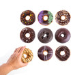 canvas print picture Donut or Donuts with hand on a background new.