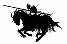 The Silhouette Of  Sinister Skeleton Knight In A Royal Crown, With A Shield On His Back And Lance In Front, Riding A Demonic Horse Rushing Into Battle. The Horse Is Wearing Spiked Armor And Rags. 2D.