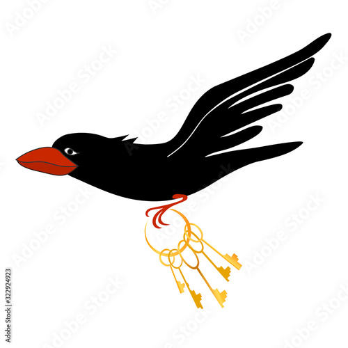 Photo Black bird with red beak with bunch of Golden keys