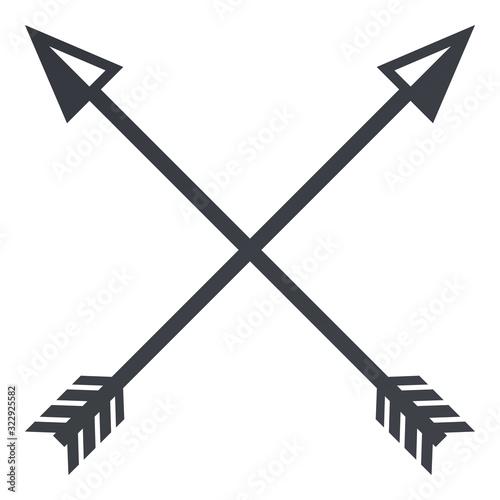 Vector Black Silhouette Medieval Icon of Crossed Arrows Canvas Print