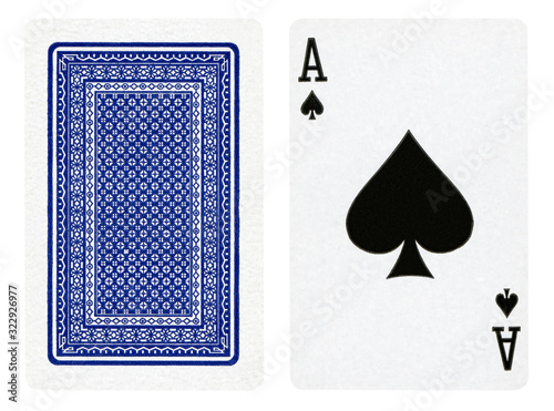 Photo Ace of spades - playing cards isolated on white