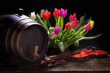 Tulips With A Wine Barrel, Bee...