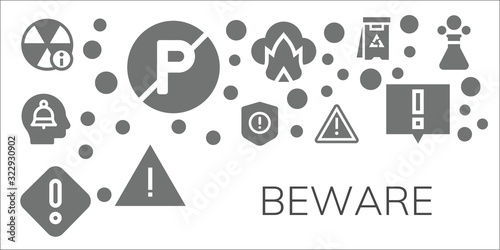 Photo Modern Simple Set of beware Vector filled Icons