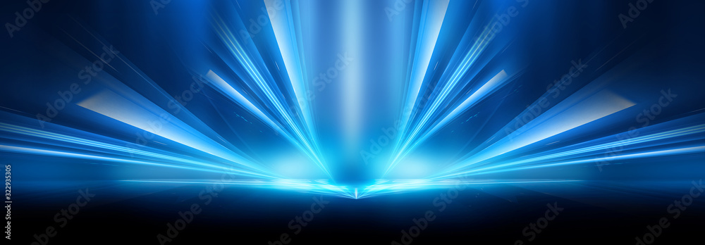 Abstract blue furutic background. Rays and lines, symmetrical reflection, blue neon. Abstract empty scene with beams and light of spotlights.