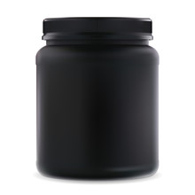 Black Supplement Jar. Protein Sport 3d Container. Bcaa Amino Acids Can Blank. Round Bodybuilding Creatine Product Package For Muscle Workout. Realistic Vitamins Cylinder Tube