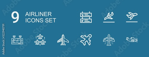 Editable 9 airliner icons for web and mobile Wallpaper Mural